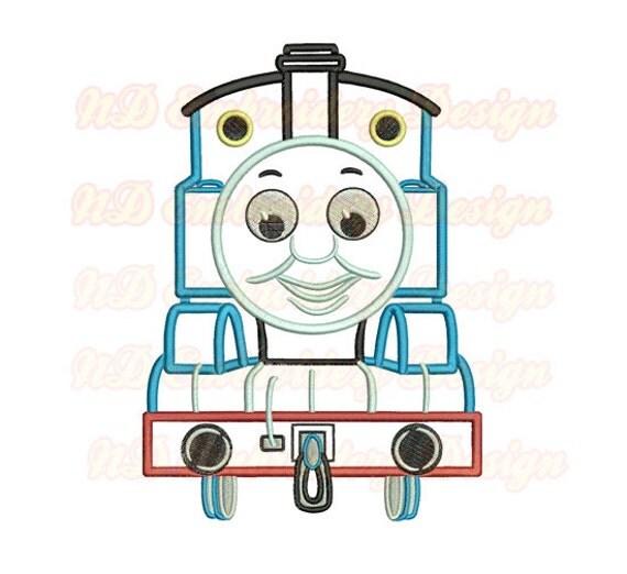 Thomas Train Face Machine Applique Embroidery Design Tank
