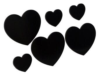 Magnet Set - HEART 6xS BLACK