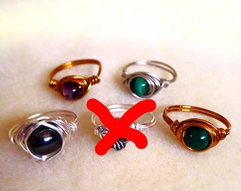 Size 9* Wire Wrapped Semi-Precious Stone Rings (1)