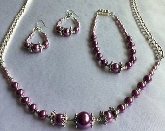 Rose Pink Glass Pearl Jewelry set