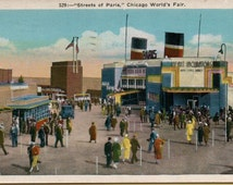 Streets of Paris, CHICAGO WORLD'S FAIR, 1933.orig. historic postcard, mailed, in excellent  condition!!
