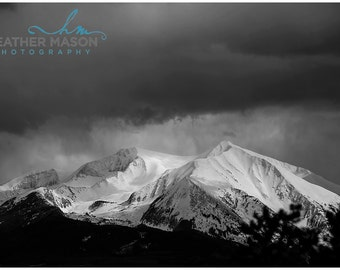 Black and White Mountain Landscape