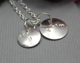 Sterling Silver Initial Necklace 2 charms