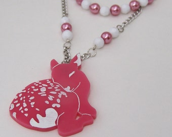 Oh Deer! Necklace Pink