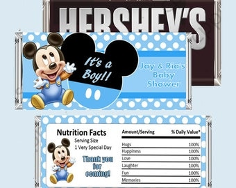Baby Mickey Mouse Candy Bar Wrapper, Hershey Bar Wrappers PRINTABLE