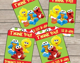 Sesame Street Thank you Tags, Favor Tags PERSONALIZED DIY PRINTABLE