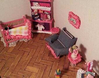 Pink & Denim Miniature Dollhouse Nursery