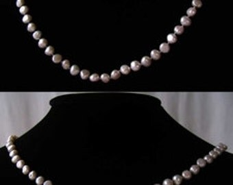 PLATINUM WHITE Freshwater Pearl & 925 Sterling Silver 20 Inch NECKLACE 9915B