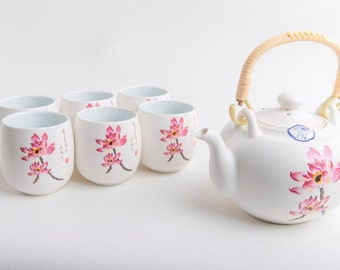 Chinese Tea Set Complete Tea Pot with Cups Set/7 Porcelain Lotus Hand-Painted in Luxury Giftbox with Bag