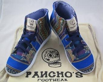 Pancho's Handmade Azure Blue High Top Sneakers