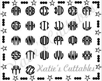Circle Monogram Alphabet .SVG File