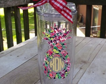 Pineapple Patterned Tumbler Monogrammed or Not, your choice!  Great Gift!