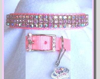 Prissy Pink Aurora Crystal Rhinestone Dog or Cat Collar
