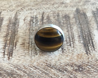 Handmade Sterling Silver Ring with Tiger's Eye Stone