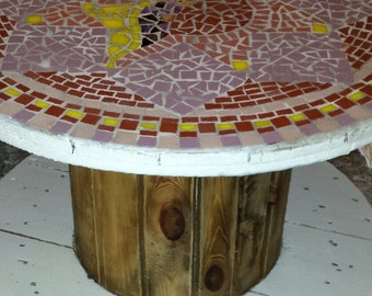 Mosaic cable reel table
