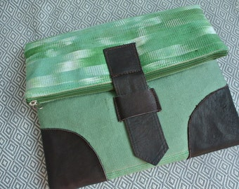 Green cotton handmade bag/Leather