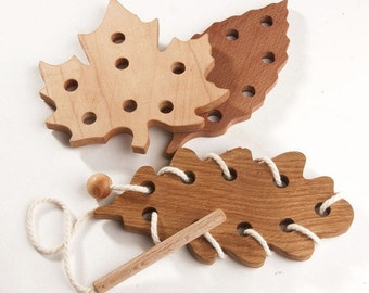 Wooden Lacing Set Leaf Fall Learning toys Threading Toy Fine Motor Skills Educational Wooden Toy Montessori toys Handmade Toys for kids