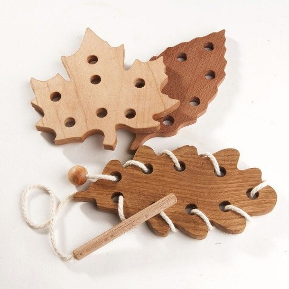 Rustic Motors 3d Custom Made Jewelry Home: Wooden Lacing Toy Leaf Fall Learning Toys Threading Toy Fine