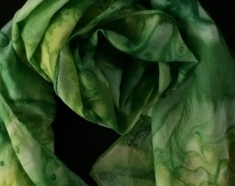 Green abstract silk scarf with salt technique