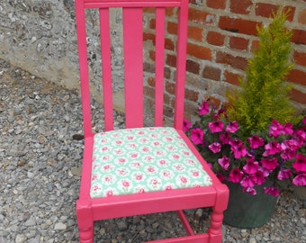 Wacky High Backed Hand Painted Pink Chair, Reupholstered in Cath Kidston Fabric