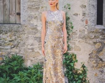 Strikingly Beautiful Gold and Silver Wedding Dress