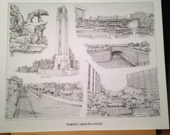 "NC State pen and ink 16""x20"" collage print"