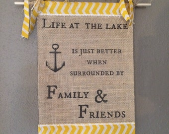 Life At The Lake Burlap Flag with Frilly Twine Hanger