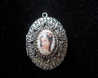 Vintage Silver Filigree Miniature Portrait Double Locket