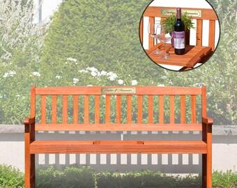 Hochzeitsgeschenk - Gartenbank mit Gravurschild - Holzbank für Garten - Sitzbank mit Schild - Geschenk zur Hochzeit