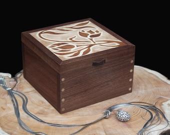 Wooden Jewellery Box Art Nouveau Flowers