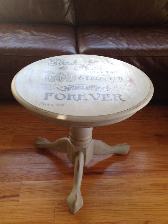 Small Round Chalk Painted Coffee Table With By Theplumsnuggery