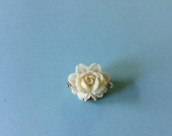 white rose porcelain pin brooch