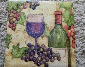 Merlot Wine Glass and Grapes Ceramic Tile Coasters (set of 4)