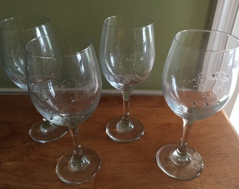 Large Decorated Wine Glasses