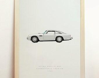 Aston Martin DB5 Print Carrozzeria Touring 1960s Poster Minimalist Men Gift Car Art James Bond Movie 007 Goldfinger 8x10 A4 11x14 A3 16x20