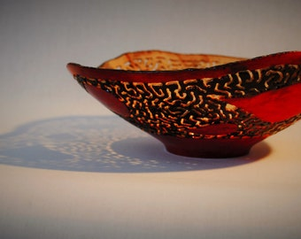 Wood turned laced bowl.