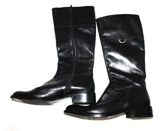 Vintage womens boots Calf high Motorcycle Equestrian riding black boots leather womens shoes women boot 8M