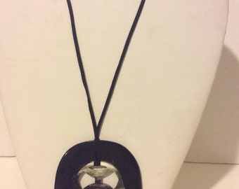 Black lacquered buffalo horn pendant necklace on a leather string