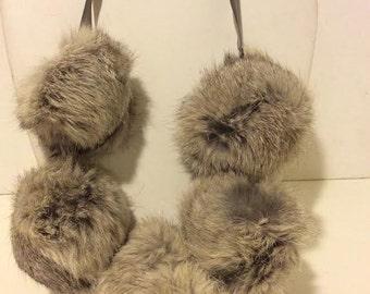 Gorgeous large rabbit fur grey short statement necklace