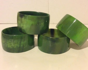 Lime green buffalo horn enamel bangle bracelet