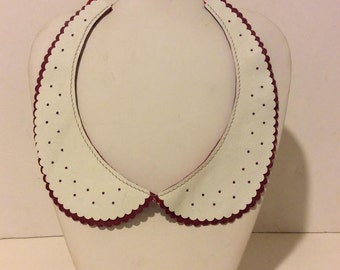 Red and white layered leather peter pan tie back necklace
