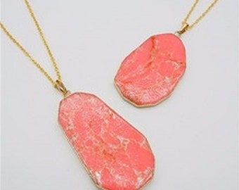 Jasper Necklace Pink Stone Necklace Slice Pendant Gold Dipped Jewelry Boho Stone Pendant Colorful Necklace Gold Edged