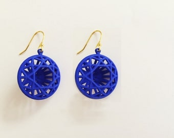 3D Printed Round Diamond Earrings by bondswell3D