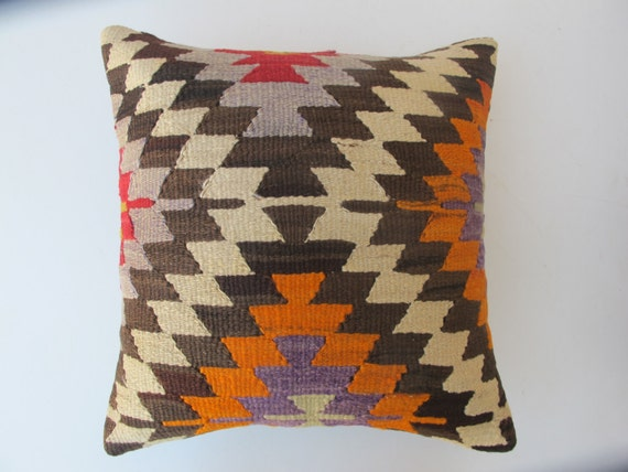 Turkish Pillow Organic Wool Living Room Kilim Pillow By DecorKilim