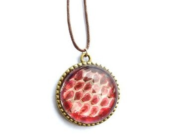Real Snakeskin Necklace- Red