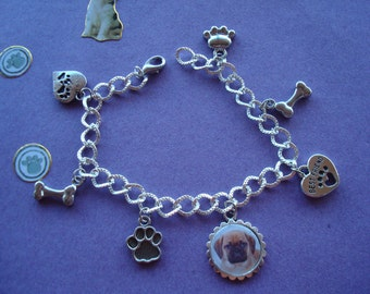 Pug Charm Bracelet. Choice of 2  NEW
