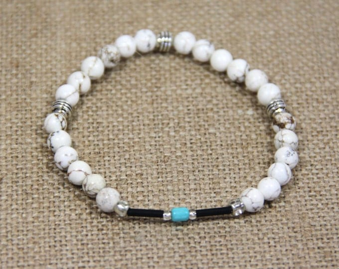 Turquoise Howlite Bracelet Silver Brown Bead Stretch Bracelet Stacking Healing Stone Boho Bracelet Yoga Jewelry Beach Inspired Gift for Her