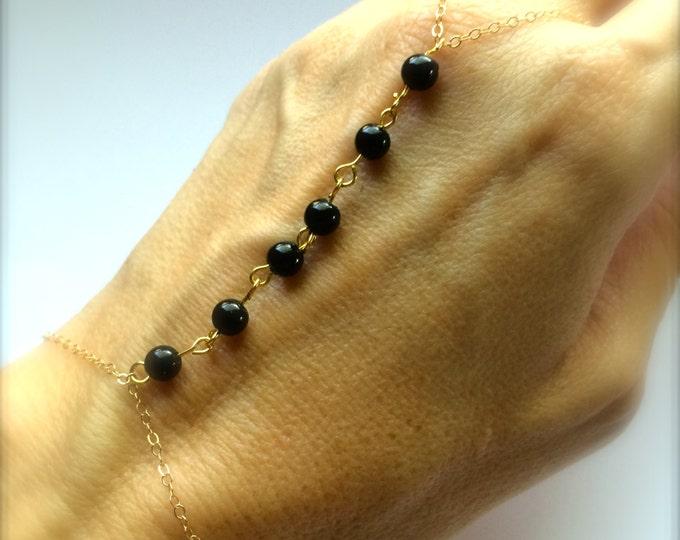 Gold Black Slave Bracelet Custom Color Stone Beaded Bracelet Bridesmaids Jewelry Beach Wedding Boho Bracelet Stacking Friendship Ring Gift