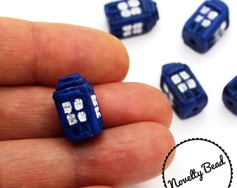 4 - Small - Tardis - Police Box - Doctor Who - Beads - Novelty - Ceramic
