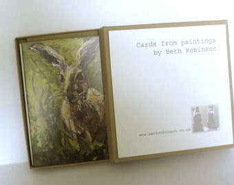6 assorted hare greetings cards in a presentation box - all from paintings by Beth Robinson